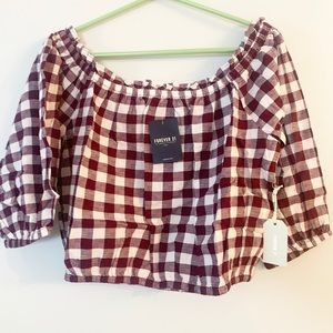NWT Forever 21 maroon gingham crop Top
